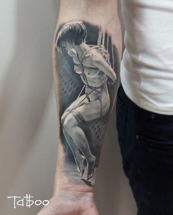Valentina Ryabova tattoo black and white woman naked bondage