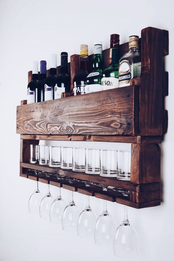 Pallet Wall Hanging Bar With Wine Glass Rack Rocks Glass Shelf