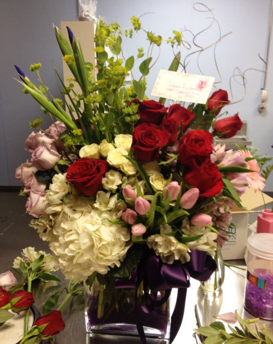 This arrangement was ordered by a client wishing to get out of the Dog House...think it worked? It contained hydrangea, roses, spray roses, tulips, iris, bupleurum, curly willow and more...