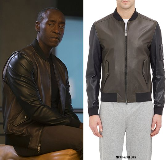 WHO: Don Cheadle as James RhodesWHAT: Todd Snyder Leather Bomber