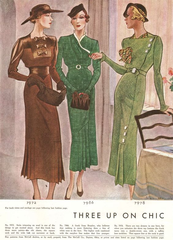what-i-found: Four-o'clock Velvet, Satin Bridge and Wool Chic Frocks - 1934