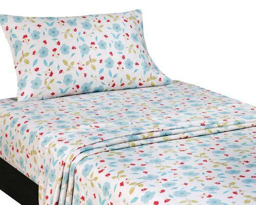 """Domain Madison Floral Flannel Sheet Set, Twin, Multi by Domain. $29.99. Sheet sets include flat sheet, fitted sheet and standard pillowcase. Cotton 100%. Contemporary design great for teens and young adults. Fitted sheets feature 12"""" deep pockets. """"Madison Floral"""" print is offered in a multi color way. The 100-percent Cotton Flannel fabric utilized, provides soft, cozy warmth on even the coldest of nights."""