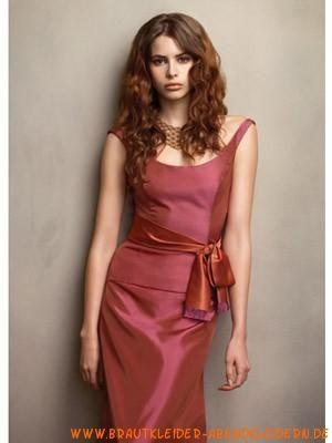 Rotes schönes Brautjungfernkleid aus Stretchsatin Rund-Ausschnitt
