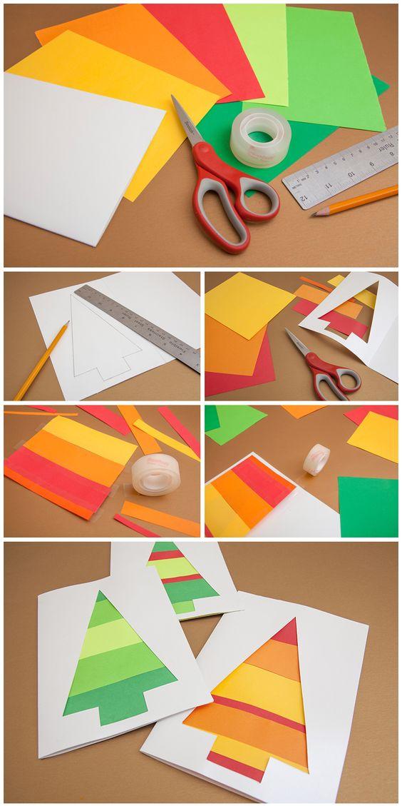 Crie cartões coloridos.  Materiais: Cartolina branca, papeis de diferentes cores, Tesoura Scotch®, régua, Fita Adesiva Scotch®.