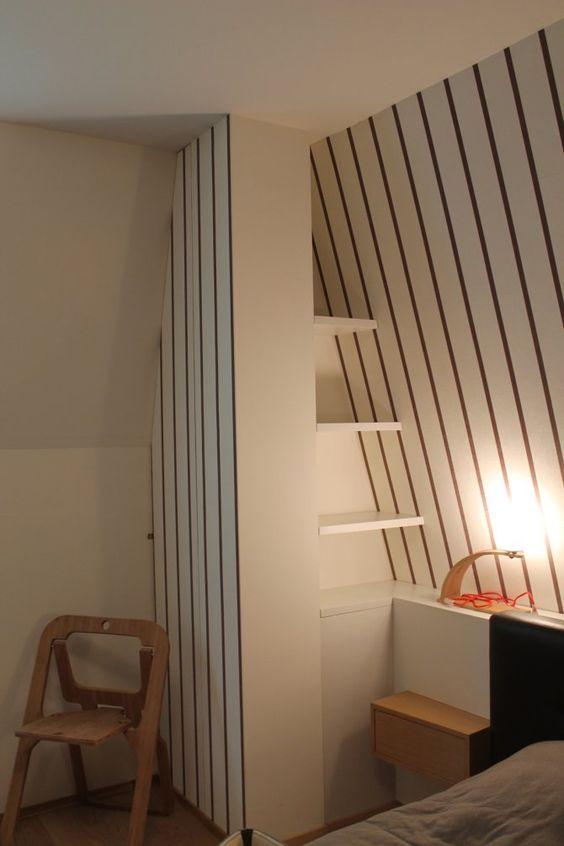 Appartamento foppolo particolare camera da letto libreria armadio e carta da parati wall - Libreria camera da letto ...