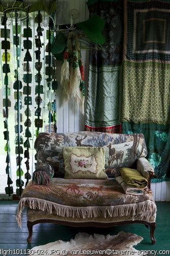 ⋴⍕ Boho Decor Bliss ⍕⋼ bright gypsy color & hippie bohemian mixed pattern home decorating ideas - settee