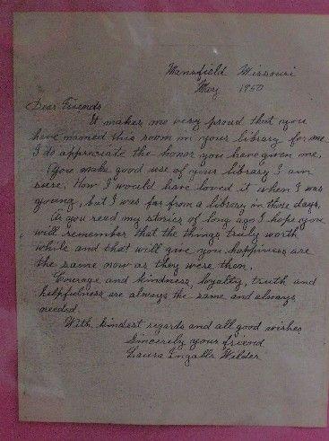 Handwritten letter, Laura Ingalls Wilder, May, 1950.