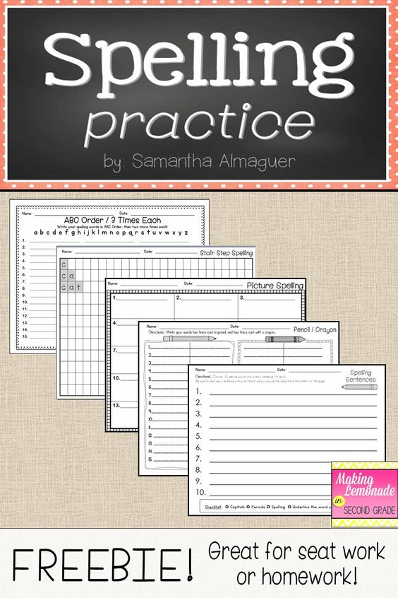 These pages are a simple solution to making easy, useful worksheets for spelling homework or seat work! In this download, you will find five different spelling practice pages for your students, which include: - ABC Order / 3 times each - Stair Step Spelling - Picture Spelling - Pencil / Crayon - Spelling Sentences