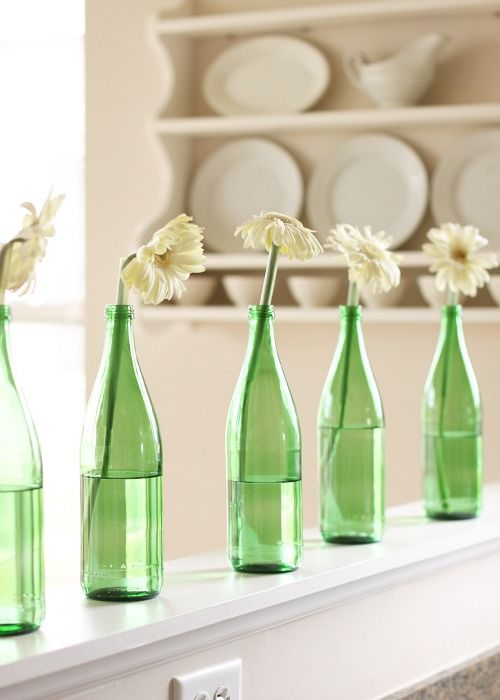 Colored vases are great way to decorate a space how are for Colored bottles for decorations