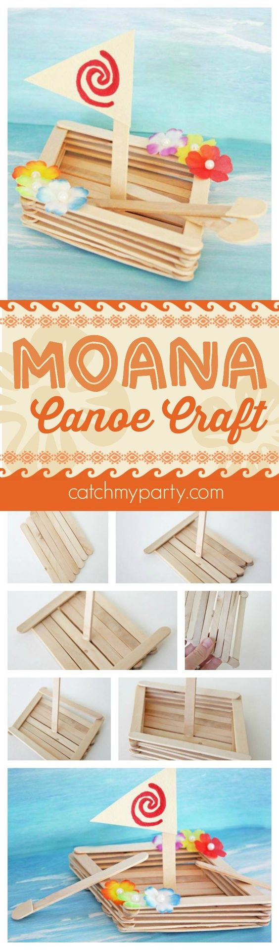 Fun Moana canoe craft perfect for a Moana birthday party activity, party favor, or rainy day craft with your kids. See more Moana party ideas at CatchMyParty.com.: