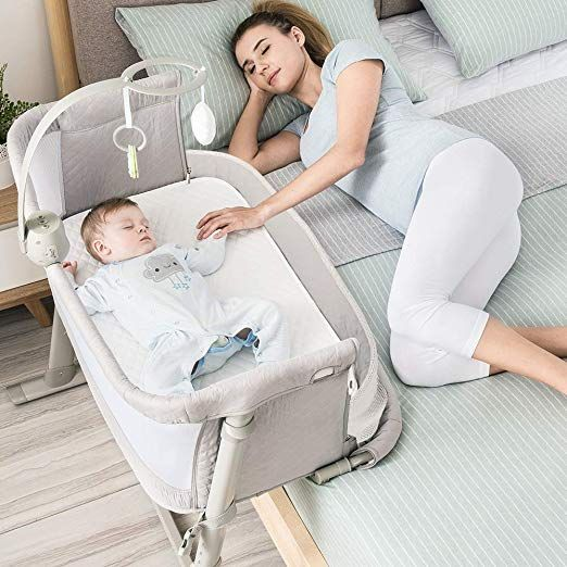 Amazon Com Baby Bassinet Ronbei Bedside Sleeper Baby Bed Cribs Baby Bed To Bed Newborn Baby Crib Adjustable Por In 2020 Baby Girl Bassinet Baby Bed Baby Bassinet