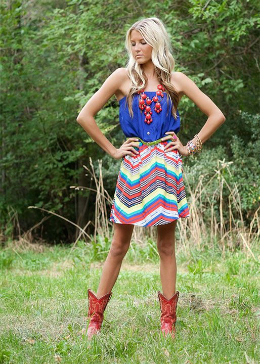 must buy.  Royal Blue Zig Zag Belted Dress- from www.modernvintageboutique.com: Red Boots, Red Cowgirl Boots, Red Cowboy Boots, Country Girl, Blue Zig, Royal Blue, Chevron Skirt, Looove Boots, Bubble Necklaces