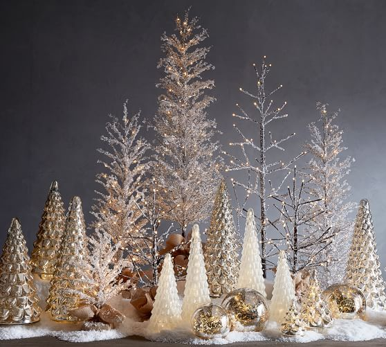 Pre Lit Snowy Crystal Trees Potterybarn Gold Christmas Decorations Silver Christmas Decorations White Christmas Decor