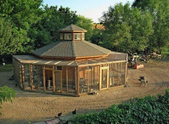 Wrap around porch on a round coop. Yurt or hogan inspired perhaps.