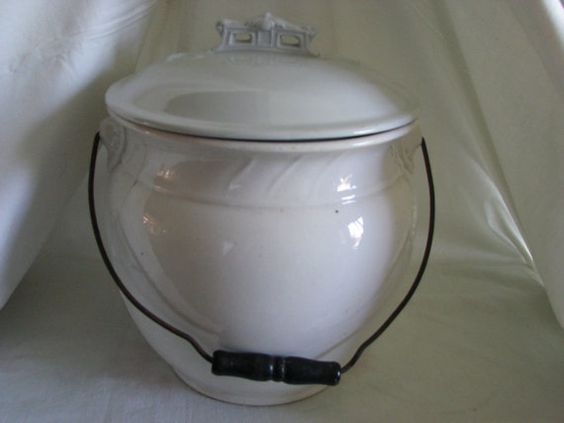 Antique victorian ceramic chamber pot with wire handle for White ceramic bathroom bin