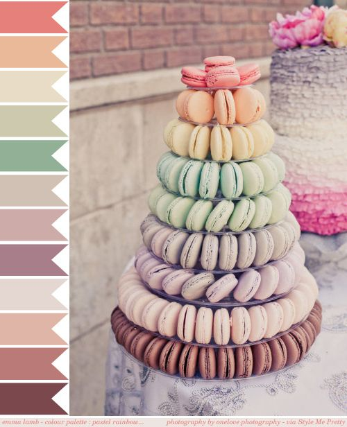 emma lamb - colour palette : pastel rainbow... // Image credit: onelove photography via Style Me Pretty - http://www.stylemepretty.com/2012/06/05/cbs-studios-backlot-wedding-by-onelove-photography/