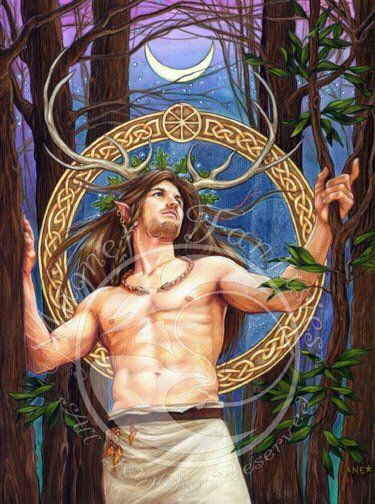"""Cernunnos / Herne... Cernunnosis the conventional name given inCeltic studiesto depictions of the """"horned god"""" ofCeltic polytheism. The name itself is only attested once, on the 1st-centuryPillar of the Boatmen, but depictions of a horned or antlered figure, often seated cross-legged and often associated with animals and holding or wearingtorcs, are known from other instances."""
