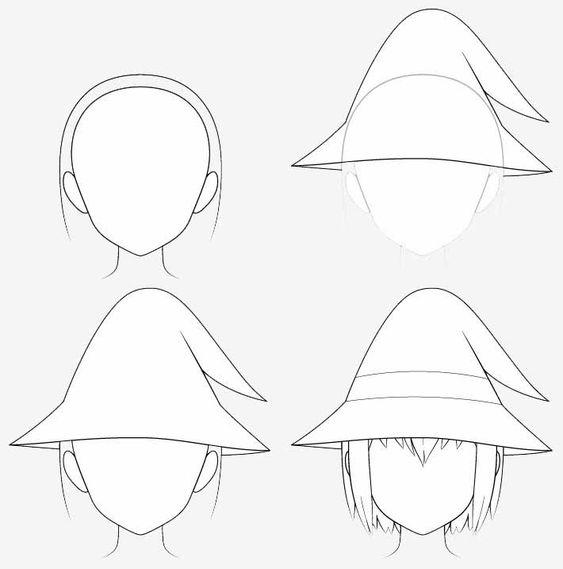 Từng bước vẽ nón phù thủy anime