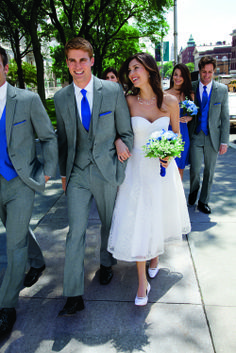 light grey suit with royal blue cravat and waistcoat - Google