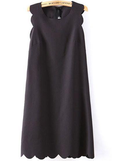 Black Sleeveless Zigzag A Line Dress - Sheinside.com Mobile Site