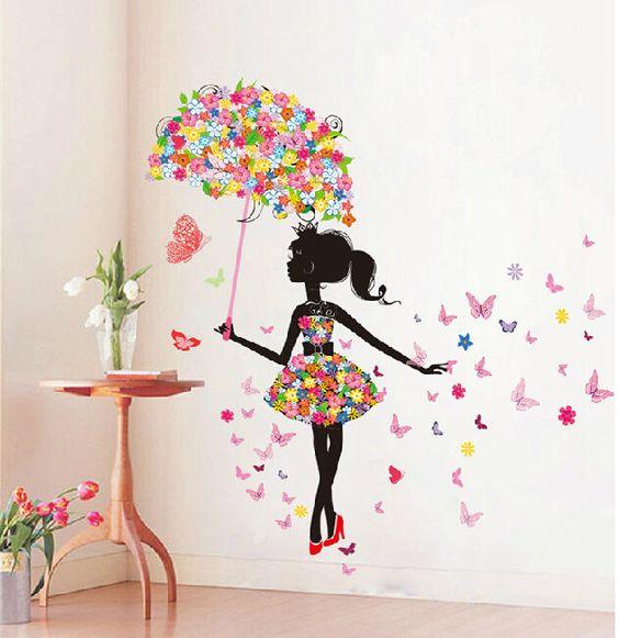 butterfly girl removable wall art sticker vinyl decal diy