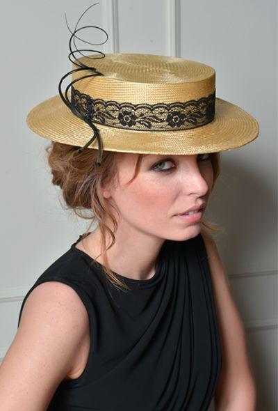 Gold Boater  #Boater ( canotier ) en fino panamá dorado con cinta de encaje negro, raquis moldeados y teñidos en nuestro atelier.Luisa Manzanares @LuisaMMillinery #hats #sombreros www.luisamanzanares.com