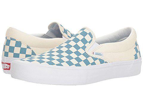 Vans Slip On Pro Checkerboard Adriatic Blue White Vans Shoes Vans Slip On Vans Slip On Pro Slip On