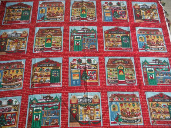 CHRISTMAS SHOPS FABRIC by cottagardonna on Etsy