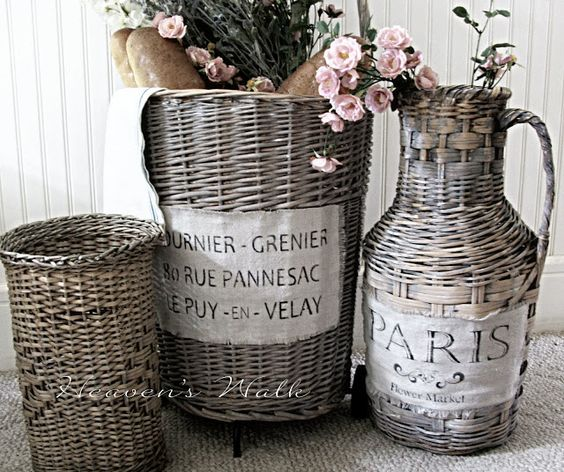 Heaven's Walk: Vintage French Market Baskets using annie Sloan paint