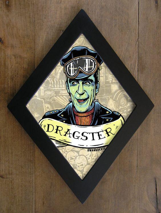 Herman Munster  from The Munsters. Dragster diamond framed print.