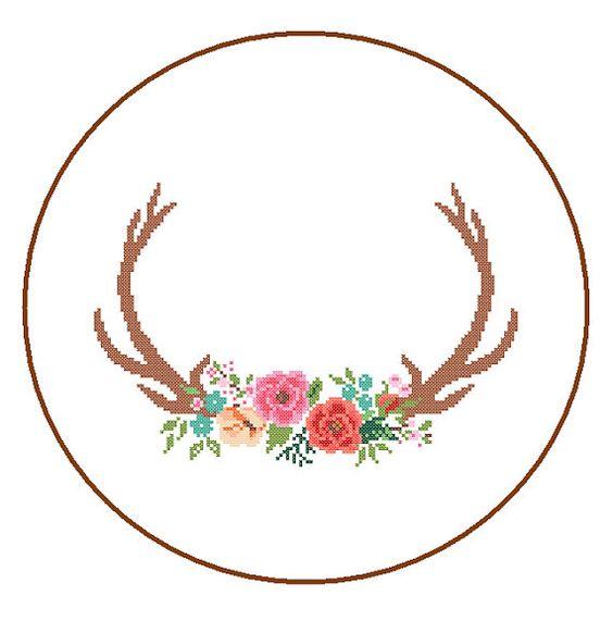 Modern Deer Cross Stitch Pattern cross stitch door ZindagiDesigns