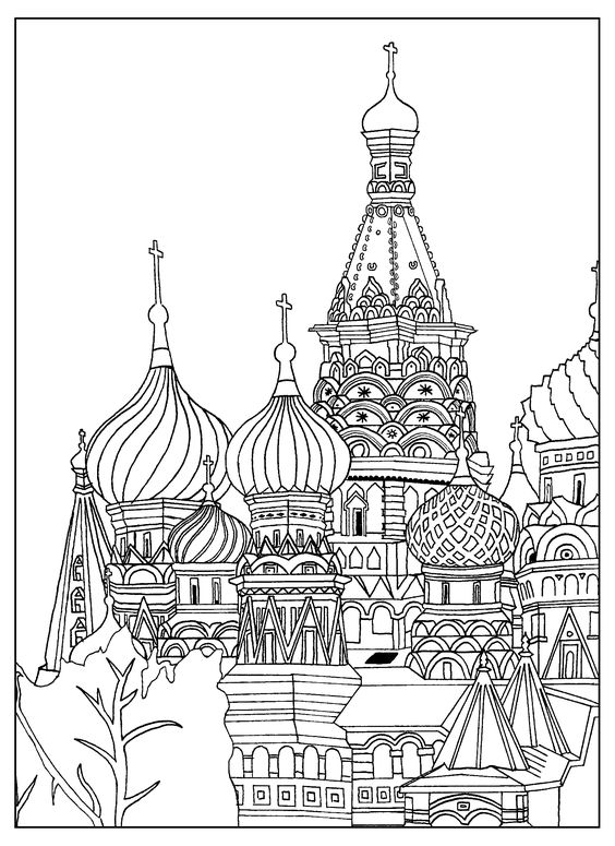 Free adult coloring page of the saint basil 39 s cathedral for Cathedral coloring pages