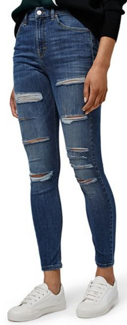 Topshop ripped high-rise skinny jeans