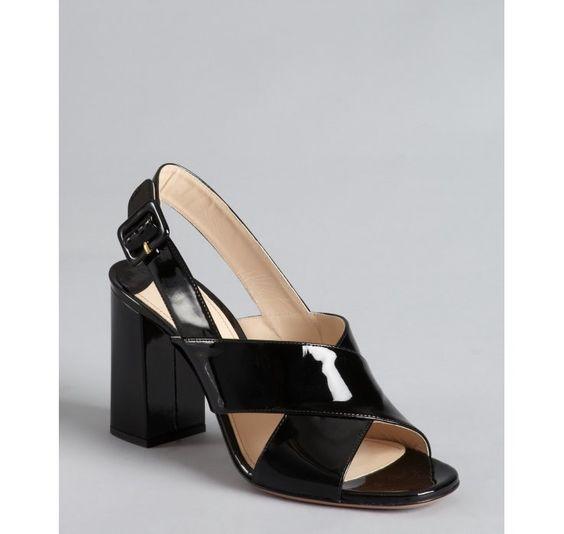 Prada black patent leather crisscross slingback sandals