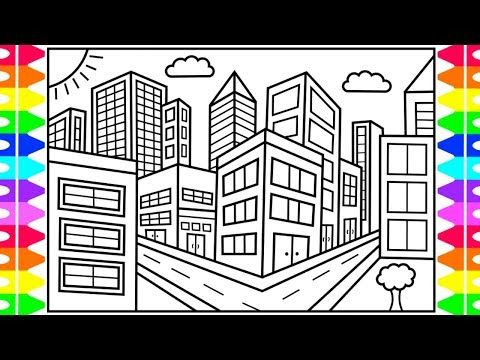 How To Draw A City For Kids City Drawing For Kids City Coloring Pages For Kids Youtube In 2020 Drawing For Kids City Drawing Bird Paintings On Canvas
