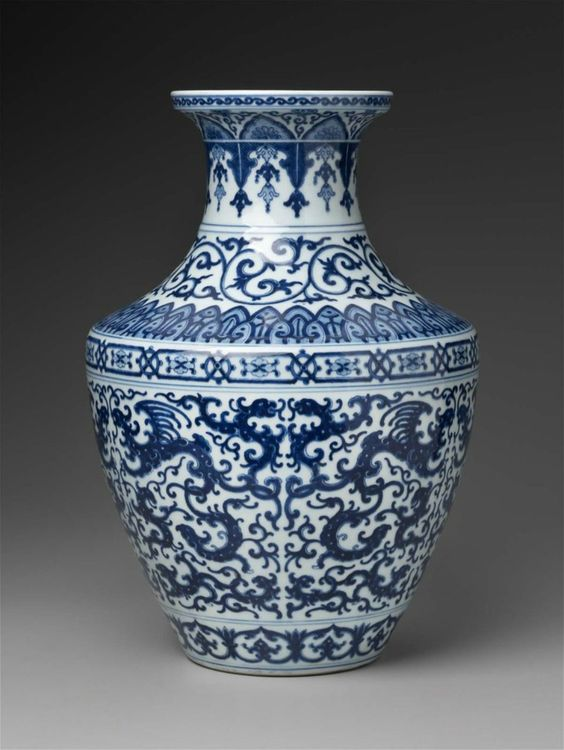 Vase with Blue & White Phoenix + Winged Dragons. Chinese, Qing Dynasty, Qianlong Period, 1736-95. Porcelain.