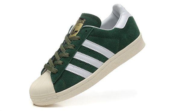 Adidas Superstar 80s Wildleder Herrens Metalllisch Retro Sport Schuhe Grün/Weiß…