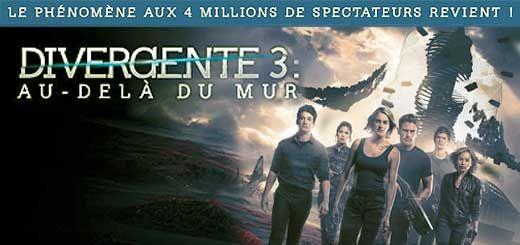 Divergente 3 : Au Delà du Mur. Film de Robert Schwentke avec Shailene Woodley, Theo James. La suite des aventures de Tris et Four quittant Chicago.