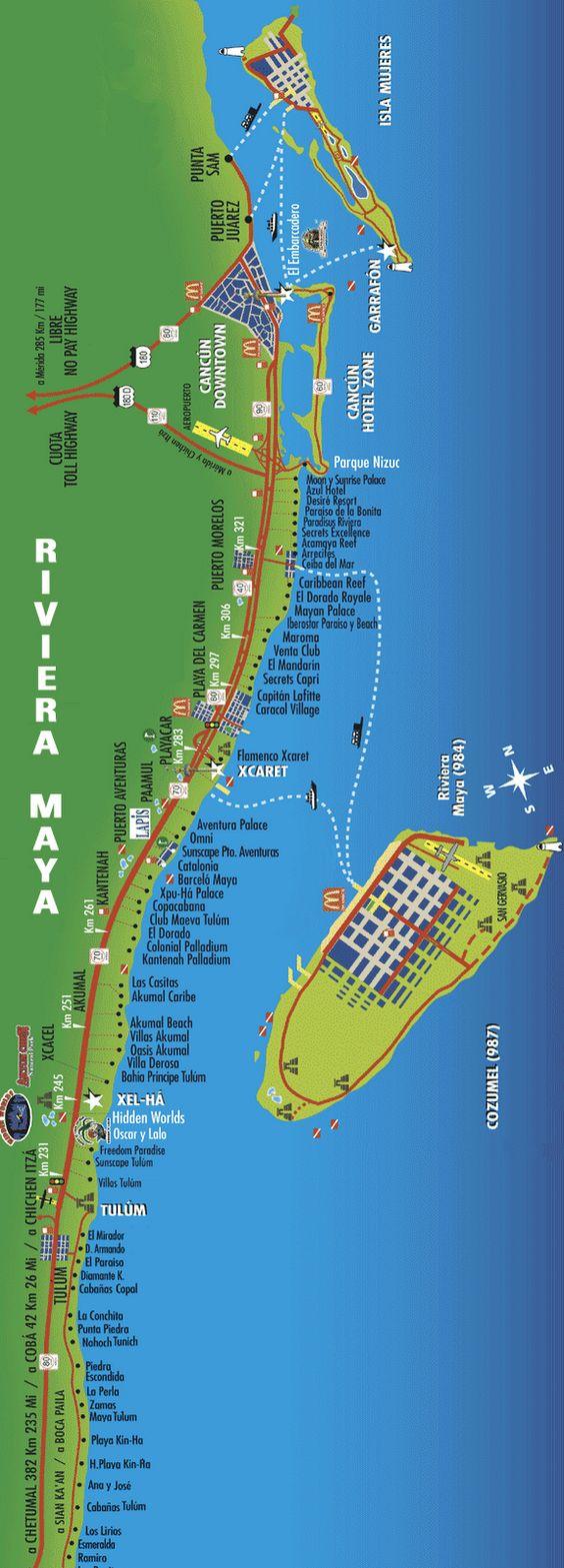 Map of Riviera Maya. Things to do in Riviera Maya