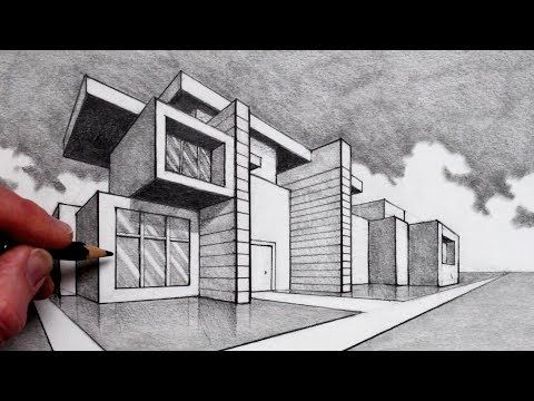 How To Draw In 2 Point Perspective Modern House Youtube Perspective Drawing Architecture Building Drawing Perspective Building Drawing
