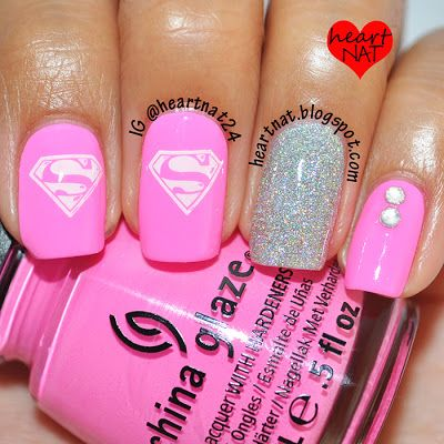 heartnat: My Girly 'Man of Steel' Nails    #nail #nails #nailsart
