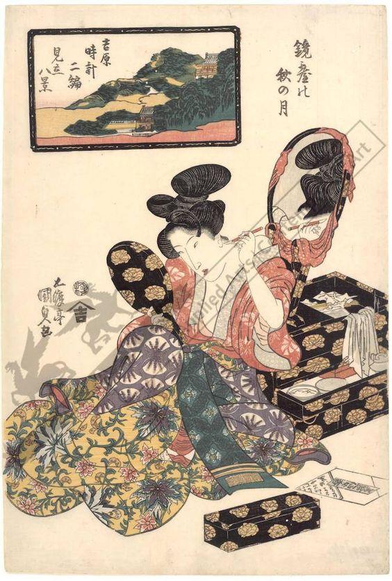 Utagawa Kunisada Title:Autumn moon in the mirror stand