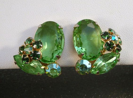 Fabulous Vintage Juliana Earrings in Shades of Green by DeLizza and Elster ~ from Charmed Life Collectibles on Ruby Lane