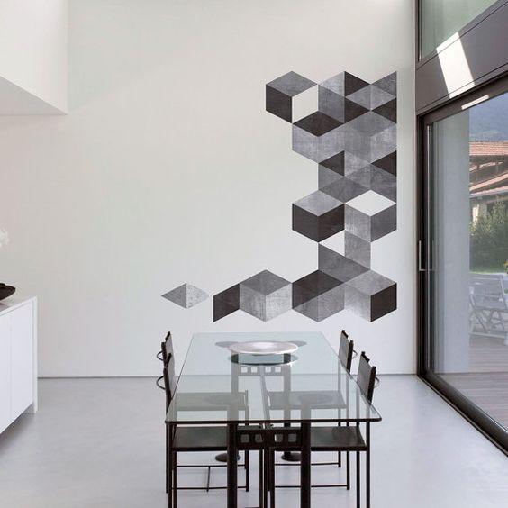 Mid Century Modern Danish Modernist Stickers Decals - Cubes Cement Effect - SKU:cucementsticker