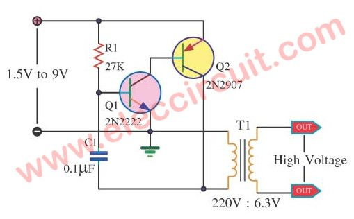 How To Make 1 5v To 220v Inverter Circuit Eleccircuit Com Electronic Circuit Projects Simple Electronic Circuits Electronics Circuit