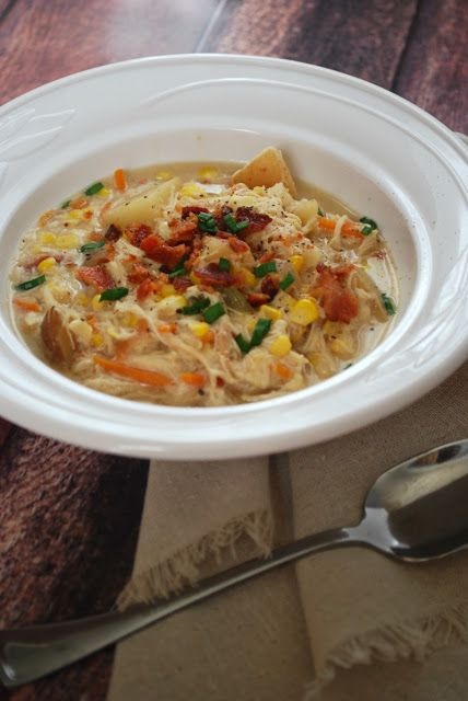 Chicken Corn Chowder with fresh sweet corn and bacon is the perfect ...