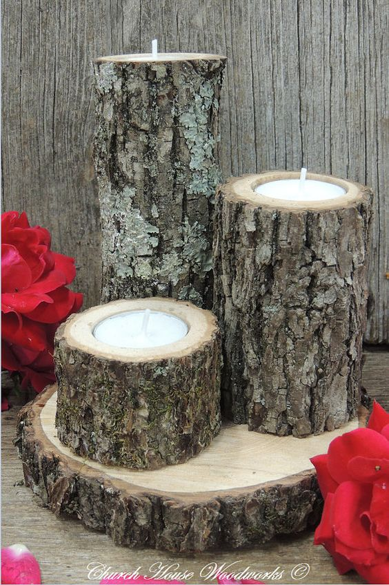 Tree branch candle holders set of rustic wood