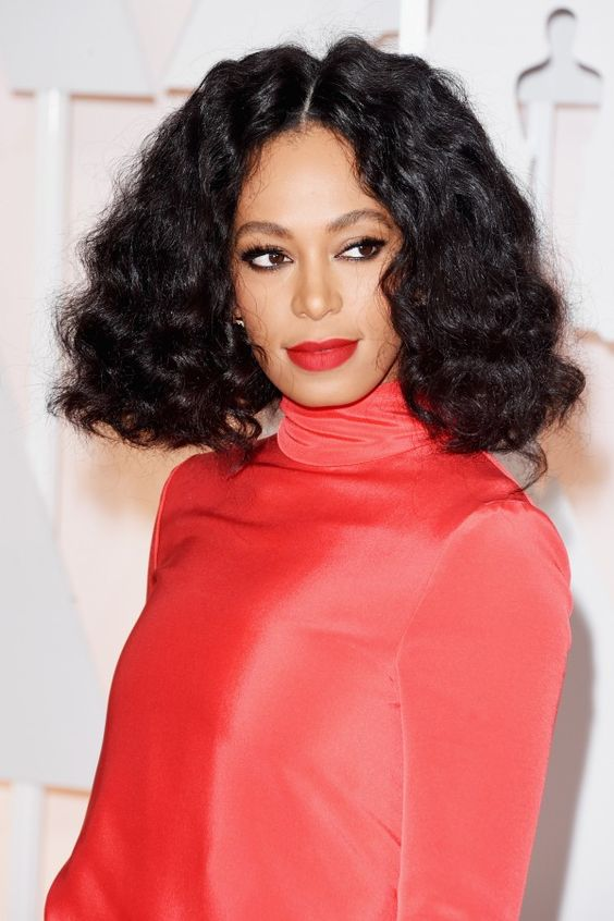 The 10 Best Beauty Looks At The 2015 Oscars | The Zoe Report Solange Knowles' Natural Waves