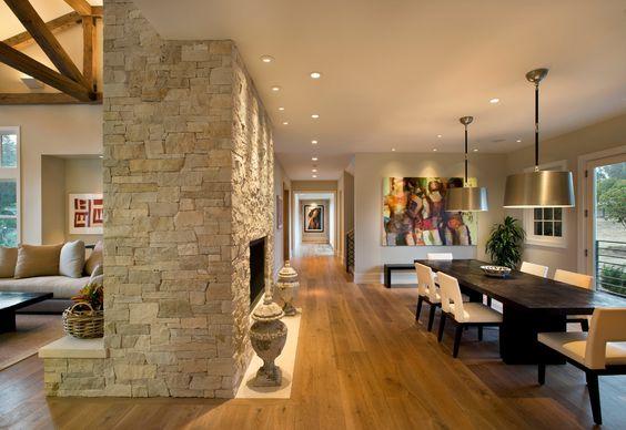 Modern farmhouse fireplaces and farmhouse dining rooms on - Living room dining room with fireplace ...