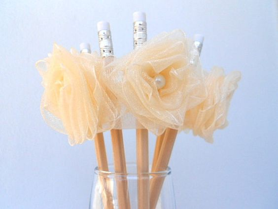 decorated pencilsIvory roseBridal partywedding by Babycottonfriend, €6.70